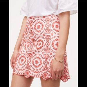 Loft embroidered eyelet skirt